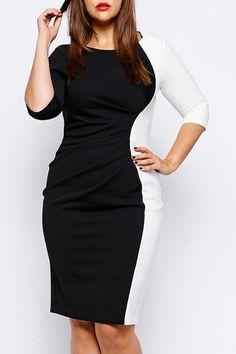 Stylish Scoop Neck Half Sleeve Color Block Plus Size Dress For Women $8.47