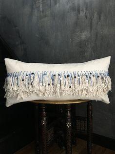 Blue Ombre Moroccan Inspired Tassel Fringe Pillow Indigo| Boho Pillow | Brass Coins | Handira | Cream Cotton | Fringe | Tassel | African