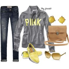A fashion look from August 2012 featuring Victoria's Secret PINK, Hollister Co. jeans and TOMS flats. Browse and shop related looks.