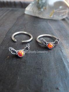 $26.95 Opal Captive Ring 14g 1/2 Orange Opals Septum by MysticBodyJewelry
