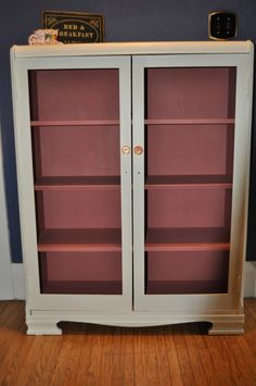 Cabinet using Chalk Paint™ Decorative Paint by Annie Sloan in Old White and Scandinavian Pink with clear wax