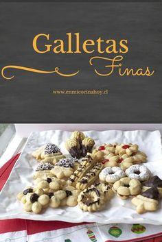 Las galletas finas son tradicionales en las cafeterías en Chile, me encanta pedir un surtido y saborearlo con un rico café. Brownie Cookies, Cake Cookies, Cupcakes, Cookie Recipes, Dessert Recipes, Desserts, Chilean Recipes, Chilean Food, Pan Dulce