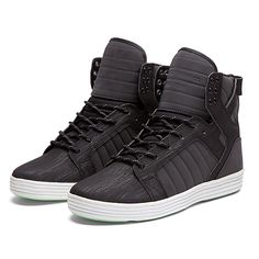 "Supra Skytop Lite ""Addams"" in Black—Have a glow-in-the-dark splatter on the soles. I don't care that they might be over the top; I think they're kinda cool."