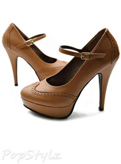 Ollio Mary Jane Wing Tip High Heel Pumps