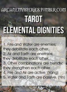 Tarot Tips http://arcanemysteries.tumblr.com/ Tarot Elemental Dignities.