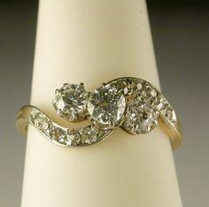 Victorian/Art Nouveau diamond 0.65 carat three stones 18k gold ring, Shop Rubylane.com