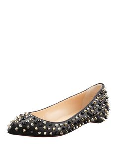 Christian Louboutin - Pigalle Spikes Point-Toe Red Sole Flat, Black