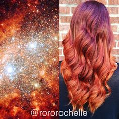 Inspired by the galaxy. Wavy orange red and a hint of purple hair color by Rochelle Fairfield hotonbeauty.com