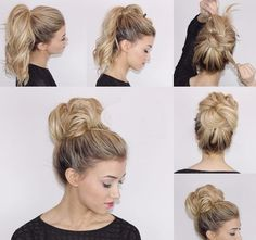 Easy messy bun from ponytail. Made on blonde hair