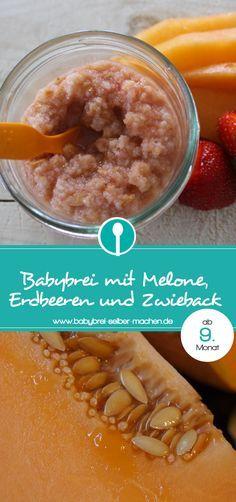 Ein sommerlicher Nachmittagsbrei mit Melone, Erdbeeren und Zwieback. Dieser Babybrei ist geeignet für Babys ab dem 9.Monat.
