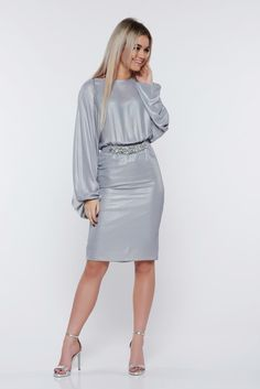 StarShinerS silver dress occasional pencil with metallic aspect, metallic aspect, inside lining, accessorized with belt, elastic waist, elastic held sleeves, long sleeves, nonelastic fabric, soft fabric