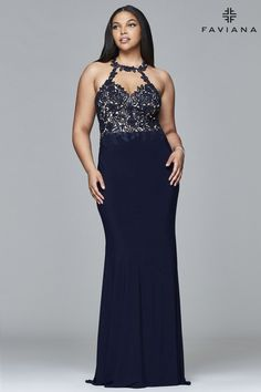Faviana Lace Halter Jersey (Available in Navy)