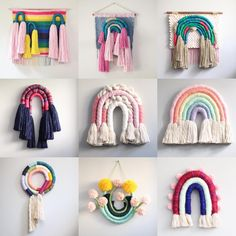 ✔ Diy Crafts To Sell Christmas Crochet Crafts, Yarn Crafts, Diy Macrame Wall Hanging, Diy House Projects, Craft Projects, Yarn Wall Art, Idee Diy, Macrame Projects, Decoration Design