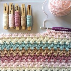 Time for another blanket. I can't believe I've never done a granny stripe before 😳 I'm using pretty, soft, muted tones for this one in a repeating order 🌸 Crochet Blanket Patterns, Crochet Motif, Crochet Yarn, Crochet Stitches, Knitting Patterns, Yarn Color Combinations, Colour Schemes, Granny Stripe Blanket, Yarn Inspiration