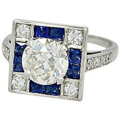 Mesmerizing Art Deco 1.65ct. Diamond & Sapphire Engagement Ring E.G.L.