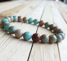 8mm Snake Skin Jasper Bracelet, Yoga Mala bracelet, Multicolored Gemstone…