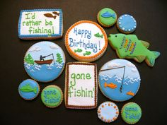 Gone Fishing decorated cookies
