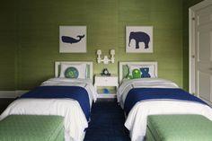 Big Boy Room - Green & Blue.  Shilouette Art.