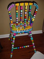 love the colors - fun painted chair! #painted #furniture