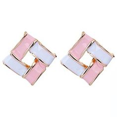 Yazilind Jewelry Gold Plated Square Pink Enamel Stus Earrings Accessory Women Gift Ideal