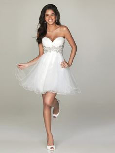 Short A-Line Sequins Strapless Sweetheart Tulle Dress with Empire Waistline