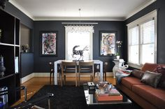 I love this home I am pinning a few images from it. I love the furniture, wall color, trim color, textiles and other surfaces.