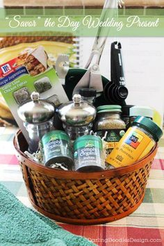 savor the day wedding gift basket a fun gift with cooking supplies and plenty of