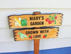 CUSTOM GARDEN SIGN Rustic painted Vegetables hand by TheCommonSign, $72.00