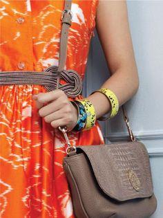 orange dress + taupe purse