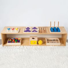 Rotating toys out and then reintroducing them after a week, or whenever she begins to lose interest in the current selection, helps to renew your baby's curiosity and keep her engaged. Montessori Materials, Montessori Toys, Montessori Toddler, Montessori Bedroom, Montessori Quotes, Montessori Education, Toddler Toys, Baby Toys, Baby Play