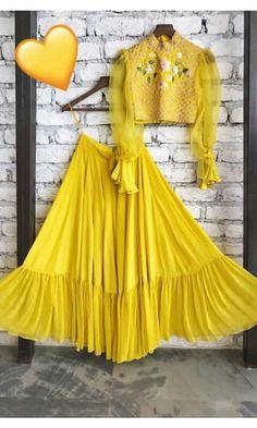 Designer lehenga yellow lehenga readymade blouse lehenga choli for women skirt fancy lehenga g Choli Designs, Lehenga Designs, Blouse Designs, Indian Designer Outfits, Designer Dresses, Indian Dresses, Indian Outfits, Pakistani Dresses, Yellow Lehenga