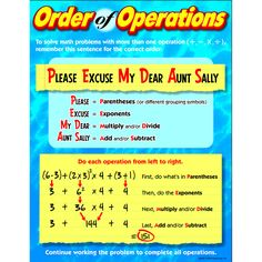 CHART ORDER OF OPERATIONS GR 4-8