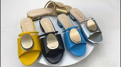 Summer women slippers casual luxury fashion sandals with rhinestones home party yellow sky blue gold. Ankle Strap Sandals, Leather Sandals, Yellow Sky, Fashion Sandals, Womens Slippers, Bridal Shoes, Summer Shoes, Blue Gold, Open Toe