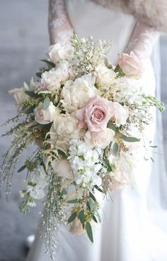 Exquisite Blush Pink Cascading Wedding Bouquet Inspo
