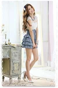 short high waisted ruffled skirt
