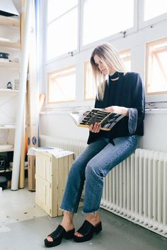 Flora Wiström, florasblogg.se, @florawis - scarf, silk blouse, bell sleeve, frayed jeans, slip ins