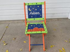 Fall Painted Folding Chair Wood Slatted Back Harvest Time