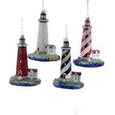 Kurt Adler 5.25' Noble Gems Lighthouse Ornament 4 Assorted, Black