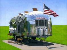 American Airstream - painting by Leah Giberson