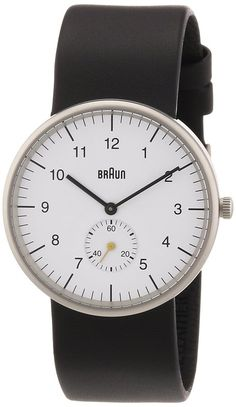 Braun Three Hand Quartz Movement Watch with White Dial Analogue Display and Black  Leather Strap d97e0b131e0