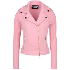 Boutique Moschino Blazer ($620) ❤ liked on Polyvore featuring outerwear, jackets, blazers, pink, collar jacket, pink blazer jacket, blazer jacket, red blazer and zip jacket