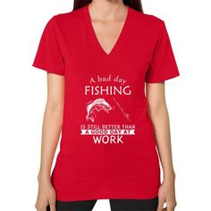 A BAD DAY Fishshing V-Neck (on woman)