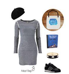 Look vestido riscas; azul; unicorn quote; adoptbag