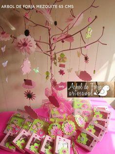 Arbol Mezquite color rosa para colgar detalles en mesa de dulces o detalles