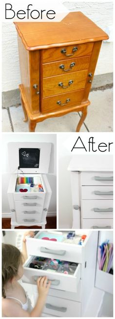Beautiful Jewellery Box makeover to help organize arts and crafts supplies!
