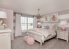 Teen Girl Room Decor And Design Striped gray walls and pink decor are the perfect match in this beautifully designed girls bedroom. Cozy Teen Bedroom, Feminine Bedroom, Teen Girl Bedrooms, Kids Bedroom, Bedroom Romantic, Summer Bedroom, Girl Rooms, Bedroom Modern, Trendy Bedroom