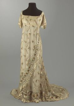 Evening Gown ca. 1795-1808 dress vintage antique gown historical 1800s