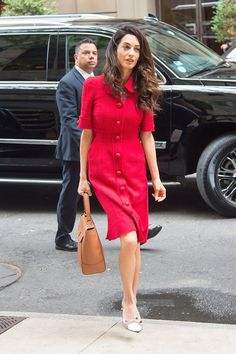 Pin for Later: 21 Summer Style Hacks to Steal From Amal Clooney to Wear to Work A Textured Dress Is a Comfortable Alternative to Your Tailored Suit Separates