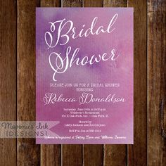 Watercolor Bridal Shower Invitation  Magenta Ombre  by MommiesInk, $14.00