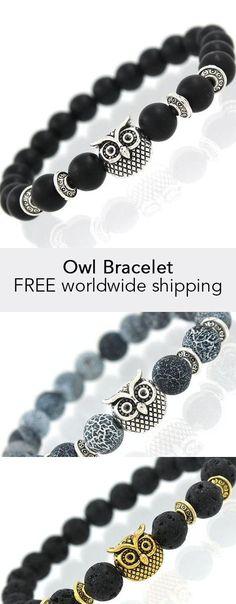 Owl Bracelet Owl Jewelry, Beaded Jewelry, Jewelry Design, Beaded Bracelets, Jewelry Ideas, Jewellery, Bracelets For Men, Leather Bracelets, Owl Bracelet